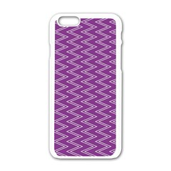 Purple Zig Zag Pattern Background Wallpaper Apple Iphone 6/6s White Enamel Case by Nexatart