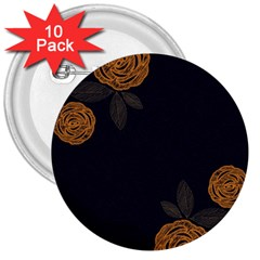 Floral Roses Seamless Pattern Vector Background 3  Buttons (10 Pack)
