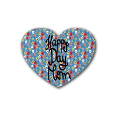 Happy Mothers Day Celebration Rubber Coaster (heart)  by Nexatart
