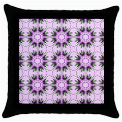 Pretty Pink Floral Purple Seamless Wallpaper Background Throw Pillow Case (black)