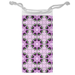 Pretty Pink Floral Purple Seamless Wallpaper Background Jewelry Bag