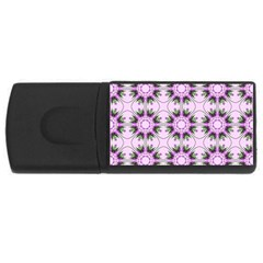 Pretty Pink Floral Purple Seamless Wallpaper Background Usb Flash Drive Rectangular (4 Gb) by Nexatart