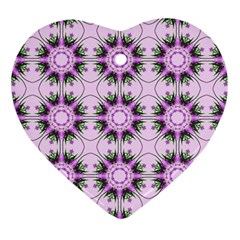 Pretty Pink Floral Purple Seamless Wallpaper Background Heart Ornament (two Sides)