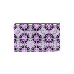 Pretty Pink Floral Purple Seamless Wallpaper Background Cosmetic Bag (small)  by Nexatart
