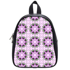 Pretty Pink Floral Purple Seamless Wallpaper Background School Bags (small)  by Nexatart