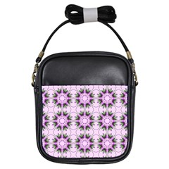 Pretty Pink Floral Purple Seamless Wallpaper Background Girls Sling Bags by Nexatart