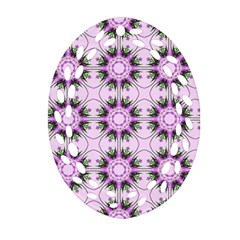 Pretty Pink Floral Purple Seamless Wallpaper Background Ornament (oval Filigree)