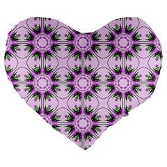 Pretty Pink Floral Purple Seamless Wallpaper Background Large 19  Premium Heart Shape Cushions by Nexatart