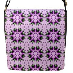 Pretty Pink Floral Purple Seamless Wallpaper Background Flap Messenger Bag (s)