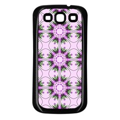 Pretty Pink Floral Purple Seamless Wallpaper Background Samsung Galaxy S3 Back Case (black)