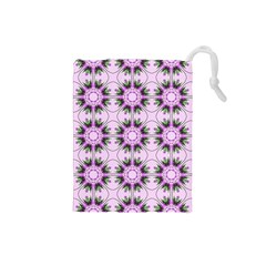 Pretty Pink Floral Purple Seamless Wallpaper Background Drawstring Pouches (small)  by Nexatart