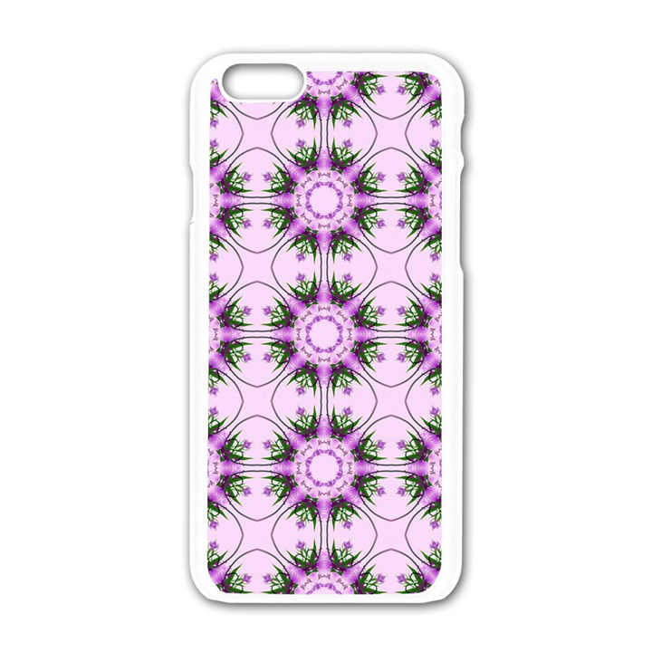 Pretty Pink Floral Purple Seamless Wallpaper Background Apple iPhone 6/6S White Enamel Case