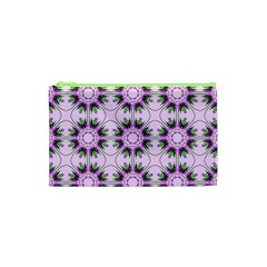 Pretty Pink Floral Purple Seamless Wallpaper Background Cosmetic Bag (xs) by Nexatart
