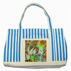 Art Pattern Striped Blue Tote Bag by Nexatart