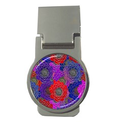 Colorful Background Of Multi Color Floral Pattern Money Clips (round)  by Nexatart