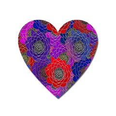 Colorful Background Of Multi Color Floral Pattern Heart Magnet by Nexatart