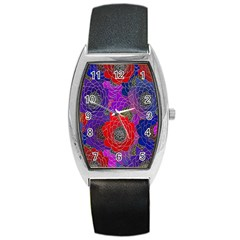 Colorful Background Of Multi Color Floral Pattern Barrel Style Metal Watch