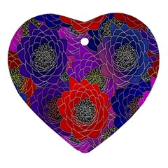 Colorful Background Of Multi Color Floral Pattern Heart Ornament (two Sides) by Nexatart