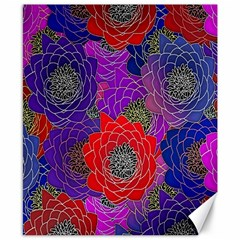 Colorful Background Of Multi Color Floral Pattern Canvas 8  X 10  by Nexatart