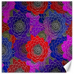 Colorful Background Of Multi Color Floral Pattern Canvas 16  X 16   by Nexatart