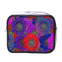 Colorful Background Of Multi Color Floral Pattern Mini Toiletries Bags by Nexatart