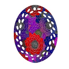 Colorful Background Of Multi Color Floral Pattern Oval Filigree Ornament (two Sides) by Nexatart