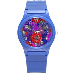 Colorful Background Of Multi Color Floral Pattern Round Plastic Sport Watch (s) by Nexatart
