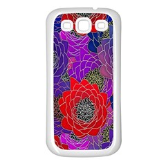 Colorful Background Of Multi Color Floral Pattern Samsung Galaxy S3 Back Case (white) by Nexatart