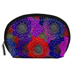 Colorful Background Of Multi Color Floral Pattern Accessory Pouches (large)  by Nexatart