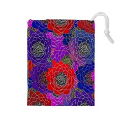 Colorful Background Of Multi Color Floral Pattern Drawstring Pouches (large)