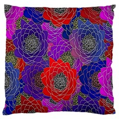 Colorful Background Of Multi Color Floral Pattern Large Flano Cushion Case (two Sides) by Nexatart