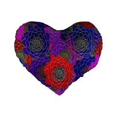 Colorful Background Of Multi Color Floral Pattern Standard 16  Premium Flano Heart Shape Cushions by Nexatart