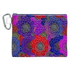 Colorful Background Of Multi Color Floral Pattern Canvas Cosmetic Bag (xxl) by Nexatart