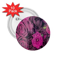 Oil Painting Flowers Background 2 25  Buttons (10 Pack)