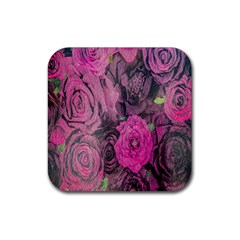 Oil Painting Flowers Background Rubber Square Coaster (4 Pack)  by Nexatart