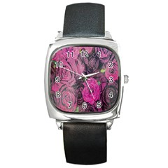 Oil Painting Flowers Background Square Metal Watch by Nexatart