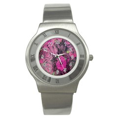 Oil Painting Flowers Background Stainless Steel Watch by Nexatart