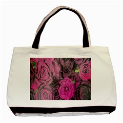 Oil Painting Flowers Background Basic Tote Bag (two Sides) by Nexatart