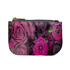 Oil Painting Flowers Background Mini Coin Purses