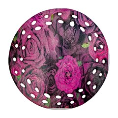 Oil Painting Flowers Background Round Filigree Ornament (two Sides)