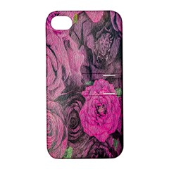 Oil Painting Flowers Background Apple Iphone 4/4s Hardshell Case With Stand