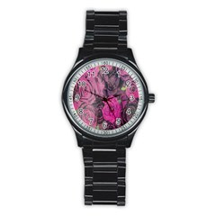 Oil Painting Flowers Background Stainless Steel Round Watch by Nexatart