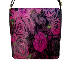 Oil Painting Flowers Background Flap Messenger Bag (l)