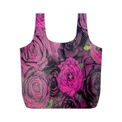 Oil Painting Flowers Background Full Print Recycle Bags (m)