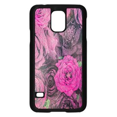Oil Painting Flowers Background Samsung Galaxy S5 Case (black)