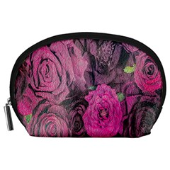 Oil Painting Flowers Background Accessory Pouches (large)