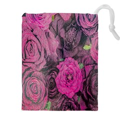 Oil Painting Flowers Background Drawstring Pouches (xxl) by Nexatart