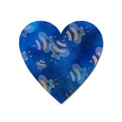 Seamless Bee Tile Cartoon Tilable Design Heart Magnet by Nexatart