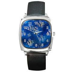 Seamless Bee Tile Cartoon Tilable Design Square Metal Watch by Nexatart