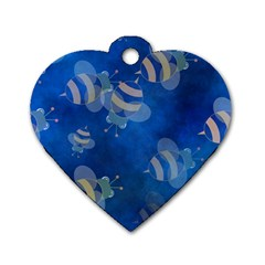 Seamless Bee Tile Cartoon Tilable Design Dog Tag Heart (two Sides) by Nexatart